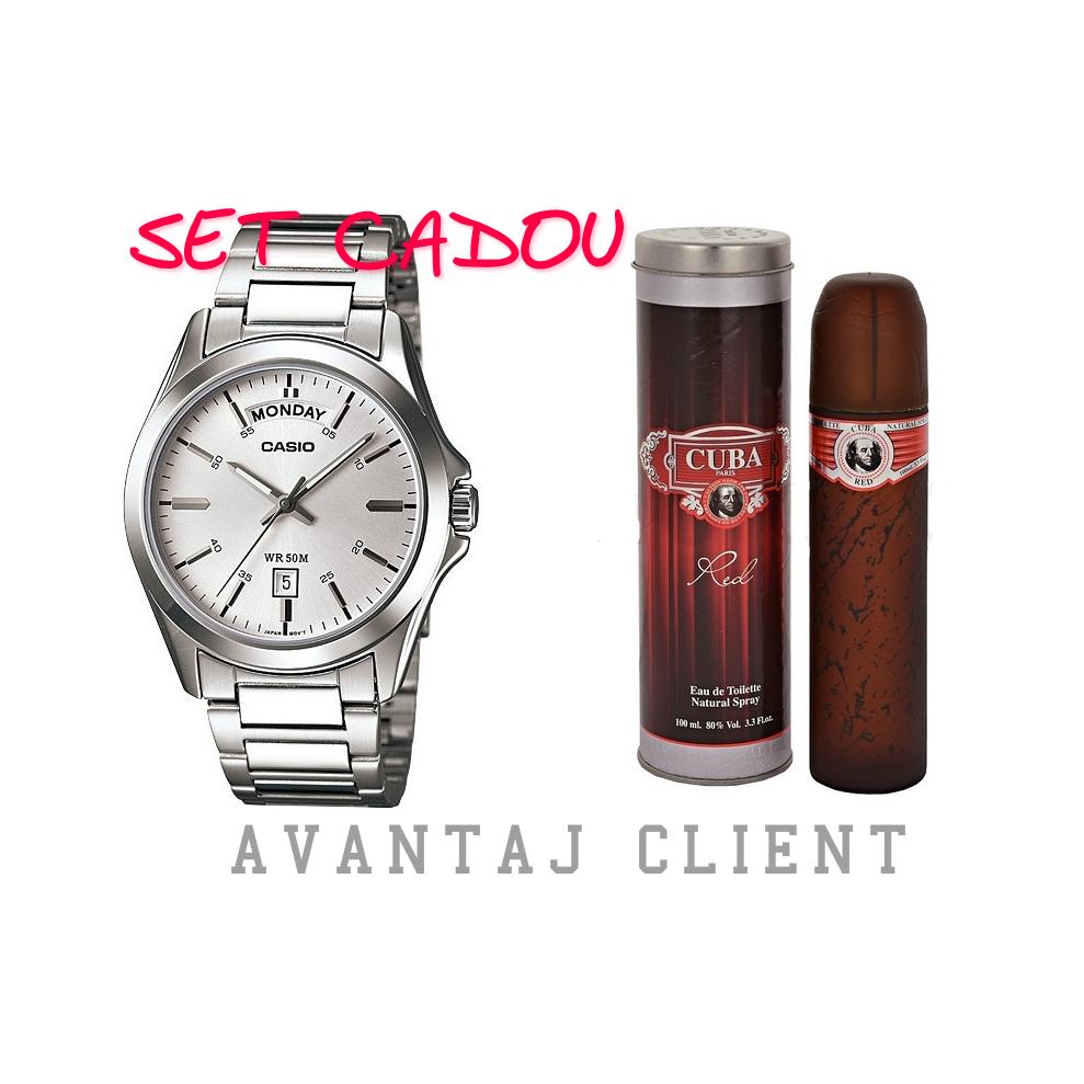 Set Cadou Barbatesc Casio Mtp 1370d 7a1vdf Parfum Cuba Red